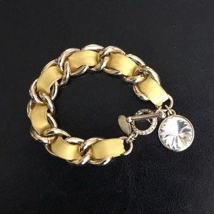Yellow leather/Gold Chain Bracelet